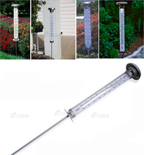Stainless steel and plastic IP44 Solar Thermometer with LED lawn outdoor temperature gauge weather station