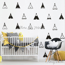 Teepee Wall Decals Vinyl Tribal Tents Wall Stickers Kids Room Bedroom Vinyl Decor nordic modern Nursery vinilos paredes A732(China)