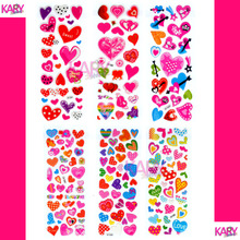 6 Sheets Scrapbooking Bubble Puffy Stickers Kawaii Cute Heart Shape Emoji Teacher Reward Kids Children Toys Factory Direct Sales