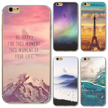 For iP7+ 5.5'' Soft TPU Cover For Apple iPhone 7Plus Cases Phone Shell Hot Sales Painting Pretty Snow Capped Mountains Pink Sky