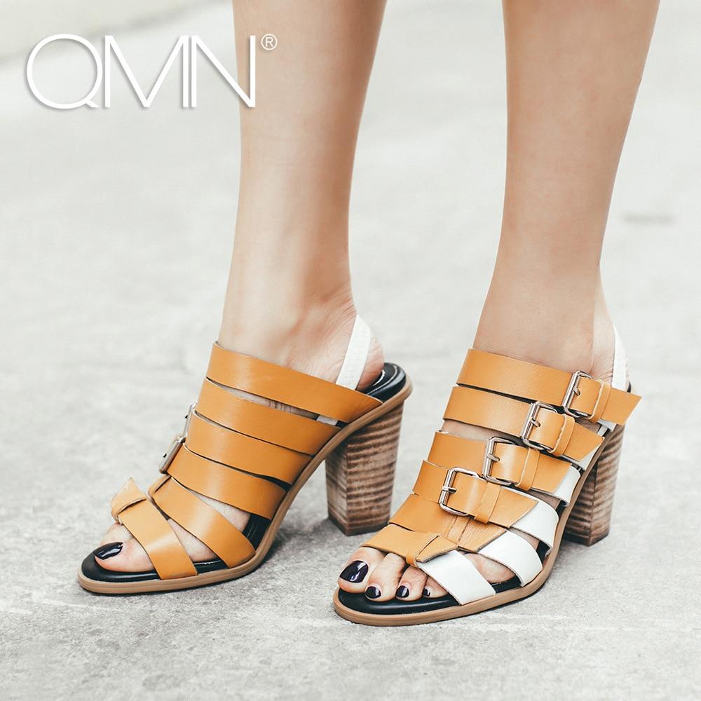 QMN women genuine leather gladiator sandals Women Contrast Color High Block Heels Slip On Summer Leisure Shoes Woman Sandals<br><br>Aliexpress