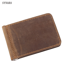 Horsehide Men Money Clip Brown Genuine Leather Billfold Clamp For Money With Card Hold Luxury Men Wallets Credit Card Wallet