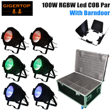 Stackable 6in1 Flight Case Packing 100W Led COB Par Light RGBW 4IN1 Studio Theater Washer Projector DMX Control Led Stage Lights