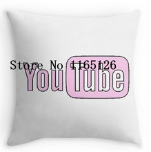 Hot Sale Pink Youtube Luxury Printed Standard Throw Pillow Case Zippered Pillow Cover Protector(China)