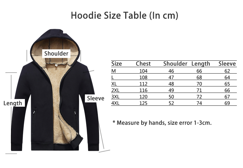 Hoodie size Table