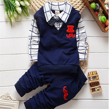 BibiCola new spring autumn baby boys clothing set cotton boys t-shirts+pants sport suit set children gentleman clothes set(China)