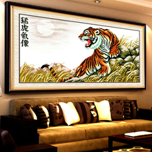 3D Diy DMC counted chinese cross stitch kits for embroidery tiger animal picture cross stitch printed on canvas Kits 86x45cm(China)
