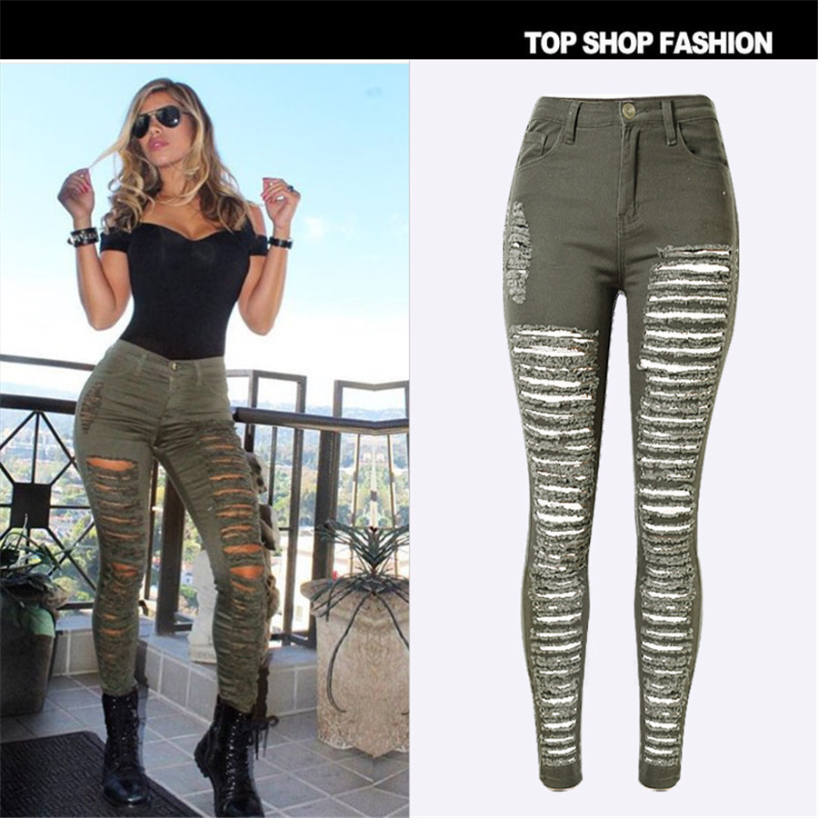 Hot Sale 2017 Fashion Pencil Jeans Woman Casual Denim Stretch Skinny Jeans Vintage High Waist Jeans Women Army Green Plus SizeОдежда и ак�е��уары<br><br><br>Aliexpress