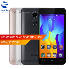 HOMTOM HT37 5.0 Inch HD 2.5D Screen Cellphone 2GB RAM 16GB ROM 5.0MP + 13.0MP Cam MT6580 Quad Core 1.3GHz Android 6.0 Smartphone(China)