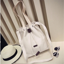 Retro Cloth Bag Canvas Bag Drawstring shopping bag NEW trend woman plain handbag beige shoulder bag