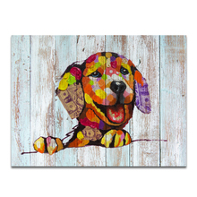 1 Panel Colorful Dog Photo Canvas Prints American Dollar Dog HD Printed Wall Picture for Wholesale/VA170731-12(China)