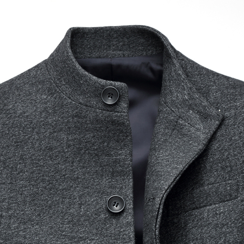 2017 New Arrival Stand Collar Quality Men's Wool Slim Fit Jacket Long Gentlemen Cashmere Coat Men