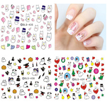 DLS418-439 DIY Small Water Transfer Foils Nail Art Sticker Nails Cartoon Harajuku Christmas Fox Frog Decals Minx Nail Decoration