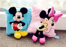 Free shipping Hot 3D Mickey Mouse and Minnie Mouse Plush Pillow Kawaii Mickey and Minnie Plush Toys children christmas gifts