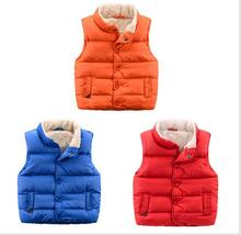 New arrival 2016 Children's vest Kids boys cotton thickened warm Coats vests cardigan Autumn Winter Baby Wear Outwear(China)
