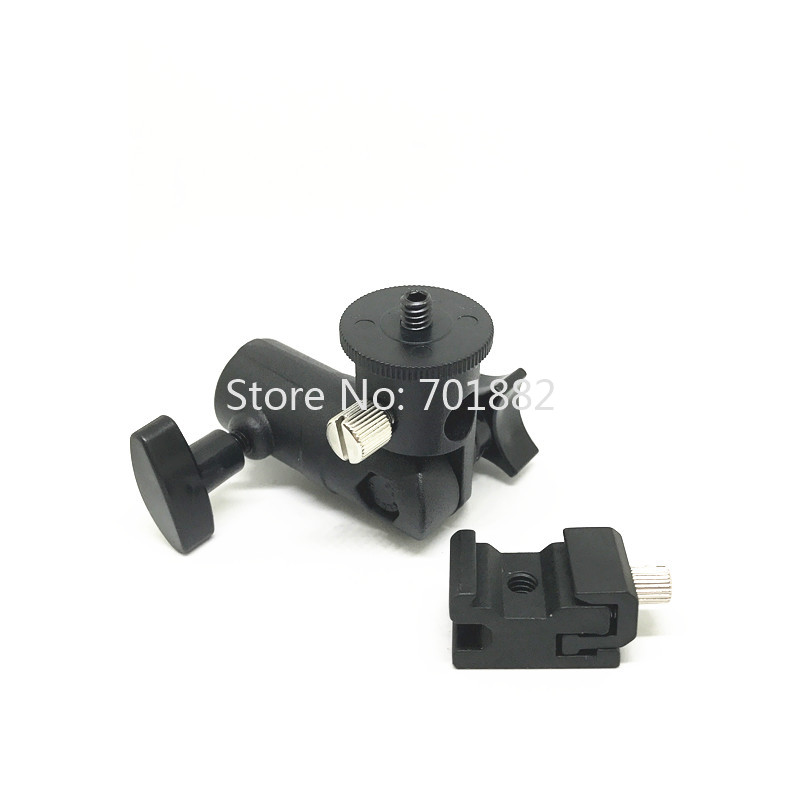 Jadkinsta Metal Flash Speedlite Bracket Hot Shoe to Light Stand Mount with Umbrella Holder Adapter Swivel Head (5)