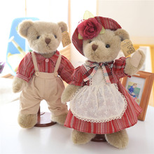 Lovely Teddy Bear Plush Toys Couple Bears in Red Clothes Dolls with Movable Joints Special for You 1 Pair 35cm