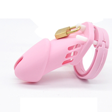 Buy New Hot pink silicone chastity cage device 10*3.5cm cb6000 long cock cages male chastity devices adult sex toys men penis