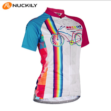 Free Shipping Women NUCKILY Brand Quality Cycling Short Sleeve Jersey Lycra Fabric Bike Shirt Bicycle Clothes Female Hot Sale