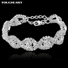 TOUCHEART Crystal Bracelets For Women Femme Silver color Charm Bracelets Bangles Wedding Jewelry With Stones 2017 SBR140169(China)