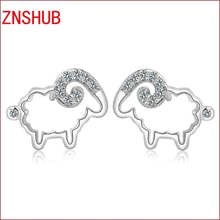 Hot new fashion 925 sterling silver earrings Ms. cute little sheep mosaic crystal earrings wholesale jewelry manufacturers