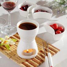 Free shipping 120 ml Ceramic chocolate fondue ice cream pot set cheese hot pot fondue sets with fork and candle butter warmers