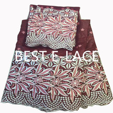 African George Fabric High Quality African Raw Silk George Wrappers Hot Nigerian Lace Fabrics George Set  1702l2320d26