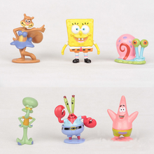 6 Pcs Lovely Sponge Bob Spongebob Miniatures PVC Action Figures Sandy Patrick Star Anime Figurines Collectibles Dolls Toys Gift