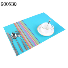 GOONBQ 1 pc Rainbow Color Table Mat 45*30 cm  PVC Heat-insulated Placemat Dinning Bowl Waterproof Table Pad Home Decoration Mat