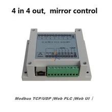 4 in 4 out Network 10A Relay controller module, Ethernet I/O, Modbus TCP/UDP IP, WEB PLC, Mirror Mapping Output