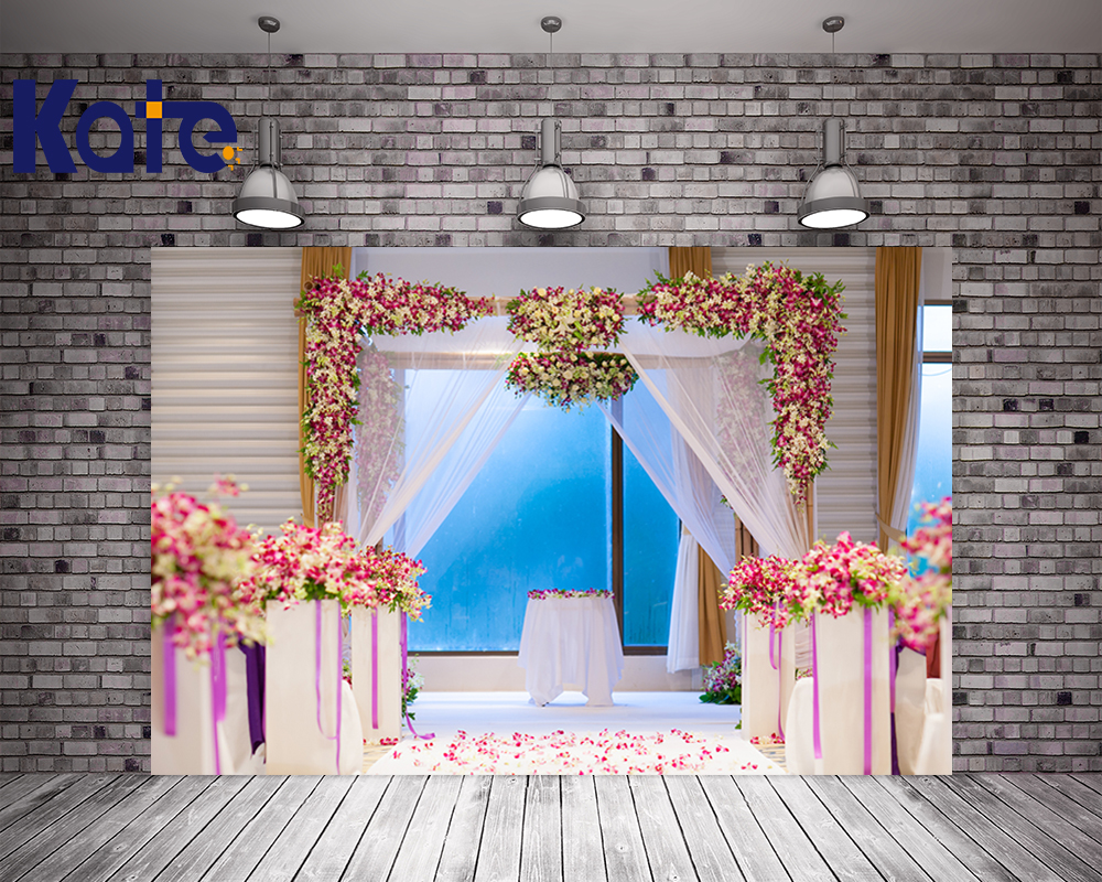 Kate Indoor Wedding Theme Photography Backdrops Beautiful Flowers Lace Curtains  Photo Background Photography Backdrop Yy00177<br>