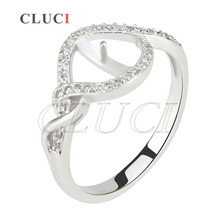 CLUCI shining women rings jewelry 925 sterling silver multiple size 6/7/8 rings accessories, can fit for 7-8mm pearls(China)