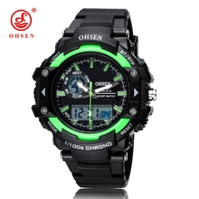 Wholesale OHSEN Digital Quartz Diving Wristwatches Mens Male Rubber Strap Fashion Green Dial Outdoor Sports Man Hand Clock Gifts(China)