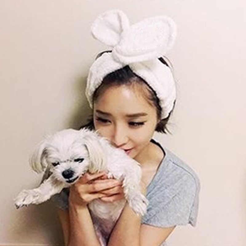 Women Girl Headwear Big Rabbit Ear Headband Soft Towel Hair Band Wrap  Headband Bath Spa Make 8b5eb6bf31b1