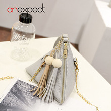 onexpect 2017 New European Trendy Triangle Women's Clutch Small Purse Fringe Bag Ladies Wallet Casual Leather Handbags(China)