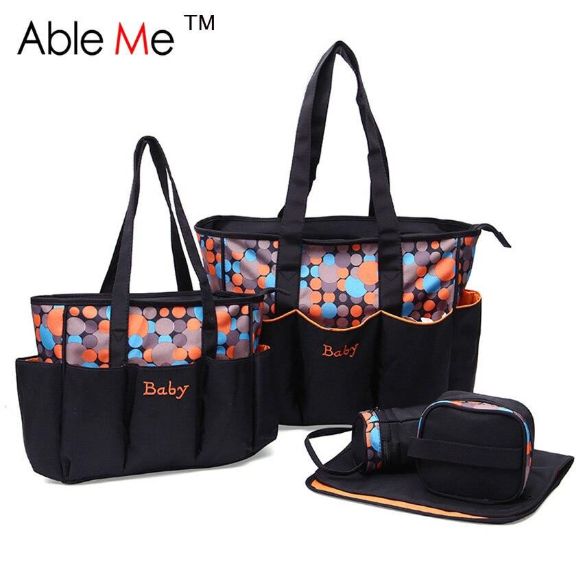 Dot Printing Women Handbag 5 Piece One Set Mummy Bag Protable Storage Carry Baby Shoulder Bag Fashion Mother Tote Bags<br><br>Aliexpress