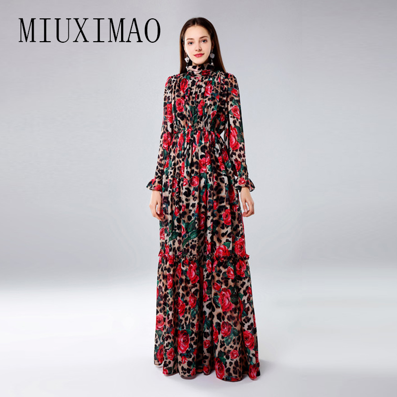 MIUXIMAO Custom Plus Size Maxi Dress 2019 Spring New Arrival Fashion Red Rose Draped Print Elegant Floor-Length Long Dress Women