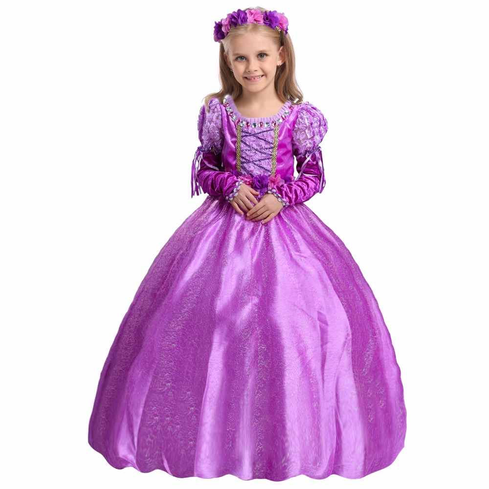 Fashion 4 layers cotton lining halloween dress girl princess costume rapunzel nightgown with gloves<br><br>Aliexpress