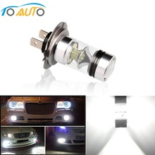 H7 LED Bulb 6000k Cree Chip 100W LED Lamp 2017 20SMD 3030 Ultra Bright White Auto Car Fog Lights DRL with 360 Degree Lens 12V