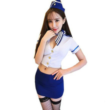Buy Airline stewardess uniform hat sexy erotic lingerie women Air Hostess cosplay teddy sexy maid lingerie sexy costumes