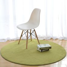 Pastoral Solid Round Rugs And Carpets For Home Living Room Computer Chair Floor Mat Children Play Tent Area Rug Coral Velvet(China)
