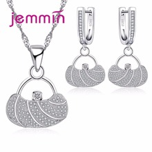 Jemmin Handbag Shape Unique Design 925 Sterling Silver Rhinestone Pendants Necklaces Earrings Jewelry Set For Women Party Bijoux