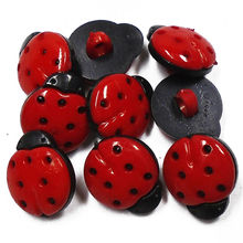 ZIEENE 50PCs 100PCs Red Ladybird Plastic Buttons 15x13mm Kids Handle Shank Sewing Scrapbooking For DIY Child Handmade Button(China)