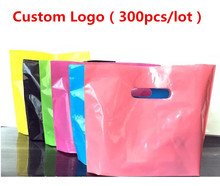 Custom bags with logo, Colorful plastic shopping bag with handle, Retail clothes storage bag plastic(China)