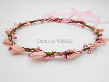 Pink Wedding Circlet Simple Diy Flower Crown for Girls Toddlers Fake Foam Flowers Hair Accessories Bridal Pip Berry Head Garland(China)