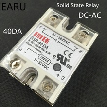1 pcs 24V-380V 40A 250V SSR-40DA Solid State Relay Module 3-32V DC To AC SSR-40 DA SSR 40A Plastic Cover Case Factory Wholesale