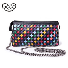 Europe and the United States leather simple creative makeup bag horizontal square zipper casual storage bag pure hand-woven smal