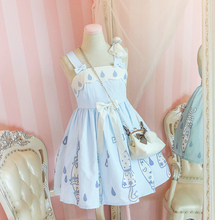 Super Cute Girls Umbrella Pattern Baby Blue JSK Lolita Dress Raindrop Embroidery Suspender One-Piece Sunny Doll