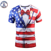 Mr.1991INC New Fashion T-shirt Men/Women Fake Two Pieces 3D T-shirt Print USA Flag Suit Jacket Tees Summer Tops T shirt S-3XL