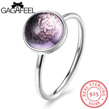GAGAFEEL Wedding Jewelry Ring For Female 925 Sterling Silver Round Noble Purple Finger Clear CZ Zircon For Lady Women Mom Gifts